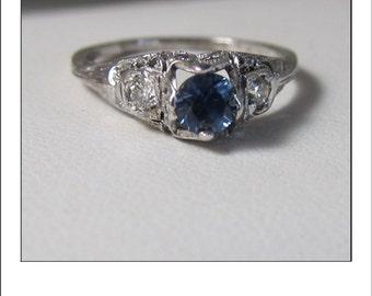 Antique Art Deco 18k Sapphire Diamond Filigree Engagement Ring