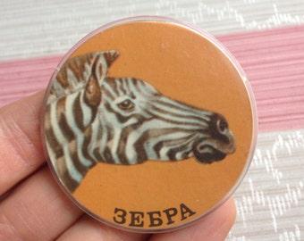 "Vintage Soviet Russian plastic badge,pin.""ZEBRA""."