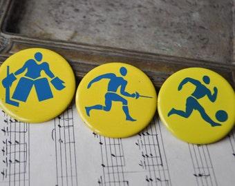 "Vintage Soviet Russian tin badges,pins.""USSR SPORT"" Set of 3."