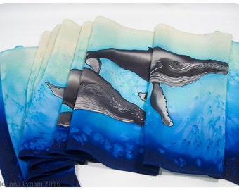"Mother's Day Gift. Whale silk scarf. 11""x58"" crepe. Hand-painted silk scarf. Humpback Whale silk scarf~Hand painted Silk Scarf~Whale Scarf"