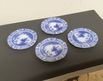 Dollhouse miniature plates, set of 4