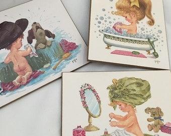 Vintage Set Griffin Bathroom Art Prints with Cute Children, Retro Kitsch Bath Decor Wall Art  Plaques, 1970s Kitschy Home Decor