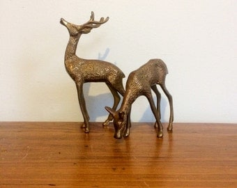 Vintage Brass Deer Figurines Set of Two / Doe and Buck / Mid Century Holiday Decor