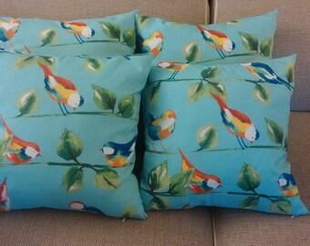 Two 20 x 20  Designer Decorative Pillow Covers for Indoor/Outdoor - Birds -  Orange, Yellow, Green, Blue Aqua.
