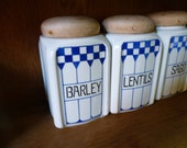 Vintage FRENCH Storage Jars FELIX Blue White Checked Country Kitchen Canisters