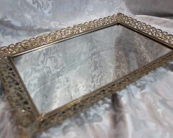 Vintage Vanity Tray Standing Mirror