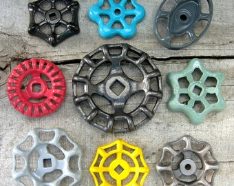 Vintage Valve Handles, Garden decor, Industrial, Steampunk, 5 Shades of Gray and 4 Colors, Group of 9 Aluminum