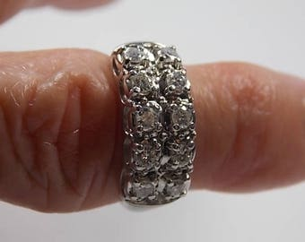 Diamond Ring one Carat Double Row White gold 4.8gm size 6.5 Traditional
