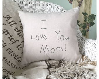 Mothers Day Gift, Custom Pillow Cover, Throw Pillow Cover, Keepsake Gift, Memory Pillow Cover, Hand Painted Pillow Cover 22606