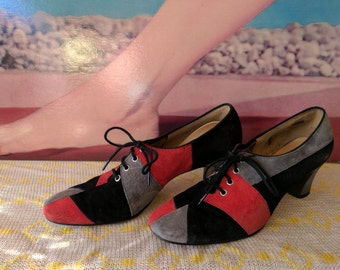 Size 5.5 B 1970s Patchwork Suede Funky Mod Shoes
