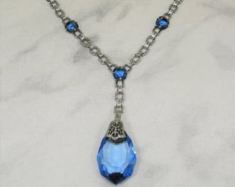 Art Deco Sapphire Blue Crystal Rhodium Filigree Necklace Wedding Bridal
