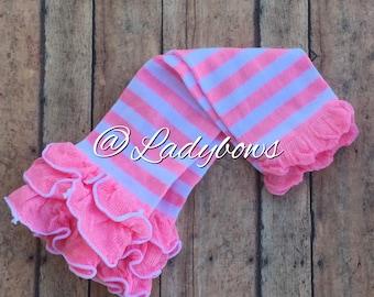 Light pink striped leg warmers