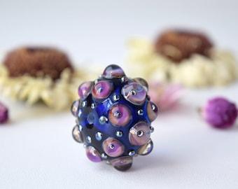 Lampwork focal bead, bumpy glass bead, murano glass bead, murano focal bead, blue focal bead, artisan focal bead, sra lampwork