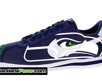 low priced 6229d 53a33 ... shoes 659064d34bd2c84ca1e0022d14e3852f  custom seahawks nike cortez  nylon midnight navy white free shipping seahawks  bandana fever ...