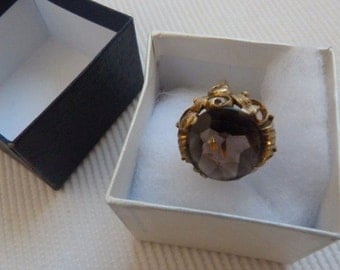 835 gold plated silver ring approx. size 57 european smoky quartz