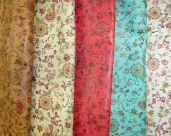 """Leather 12""""x12"""" KIMONO pattern on Cowhide 2.5 oz / 1 mm PeggySueAlso™ spring flowers"""