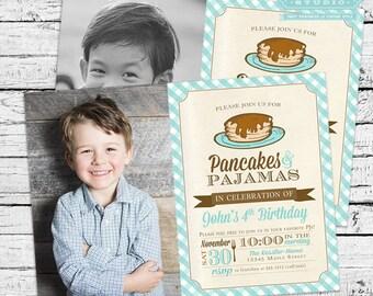Pancakes and PJs Pajamas Birthday Photo Invitation in Blue
