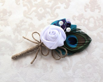 Peacock Teal White Rosette Boutonniere/ Wedding Lapel Pin/ Handmade Wedding Accessory