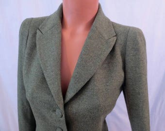 AGNES B PARIS green wool suit set - tailored jacket and pencil skirt - classic style sz 36 38 S