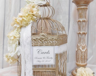 XL Floral Wedding Birdcage Card Holder / Wedding Card Box / Floral Wedding Decor / Wedding Birdcage / Birdcage Card Holder / Wedding Decor