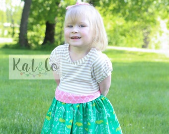 Girls short sleeve dress with sash.  Custom made 6 months to 10 years