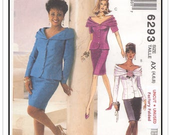 McCALL'S Pattern 6293 - Misses' Daphne Maxwell Reid Two-Piece Dress or Suit w/Pleated Portrait Collar & Pencil Skirt - Sz 4-6-8 - Uncut/FF