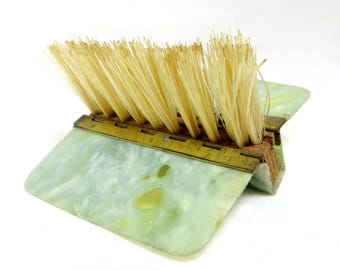 Art Deco Pocket Clothes Brush, Handbag-sized Folding Green/Grey Marbled Celluloid Clothes Lint Brush 1930s