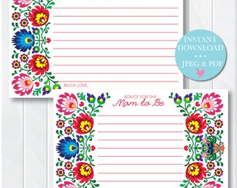 Fiesta Baby Advice Cards, Advice for the New Parents Cards, Fiesta Baby Shower Games, Mom to Be Advice, Printable, Instant Download