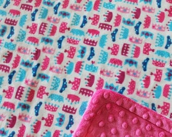 Minky Blanket Multi Colored Princess Crowns Print Minky with Hot Pink Dimple Dot Minky Backing - Perfect Size a Toddler or Child 36 x 42