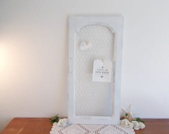 Wedding Seating Chart Large Tall Rustic White Shabby Chic Distressed Chicken Wire Memory Board Photo Picture Country Farmhouse Home Decor