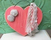 Shabby Chic Coral Heart Hanger, Wooden Crackled Coral Heart, Home Decor Heart Hanger
