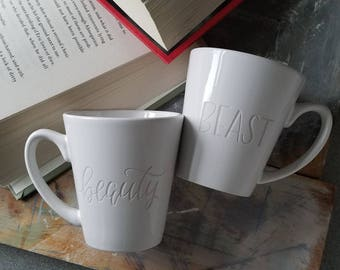 Beauty & Beast Engraved Mug Set, Couples Mugs, Funny Mugs, His and Hers Coffee Cups, Mr and Mrs Mug Set, Beauty and the Beast Wedding Gift