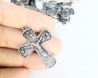 17pc detailed crosses lot antiqued silver color religious crucifix pendants