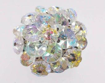 Vintage Crystal Cluster Pin Margarita Crystal Stones Aurora Borealis Crystals Costume Jewelry
