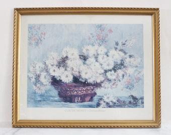 Large vintage Claude Monet framed print, Chrysanthemes, artwork, wall art, art, wall hanging, print, blues, floral, flower, still life