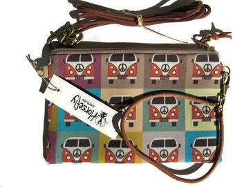 NEW VW Combi hippie bag pouch wristlet handmade in Australia Horsefly