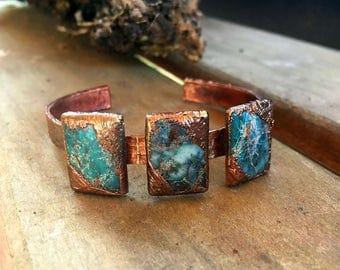 Boho Bracelet   Azurite and Copper Cuff Bracelet   Electroformed Bracelet     Item 1065
