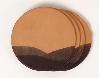 Leather drink coasters with dip-dyed detail | JIG