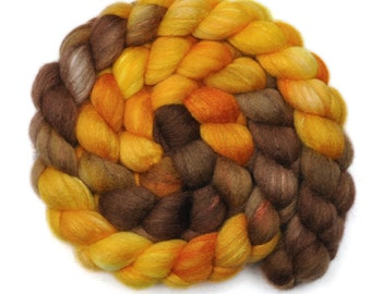 Handpainted roving - Silk / Polwarth 15/85% wool roving - 4.1 ounces - Molten Iron