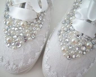 Wedding Bridal Tennis Shoes Sneakers - chic white lace or Ivory cream - Rhinestone Pearls - eyelet trim - Shabby vintage inspired - bling