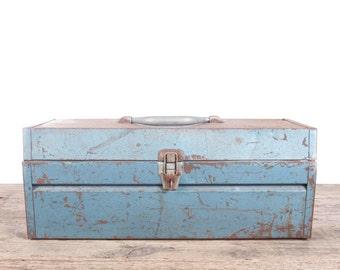 Vintage Sears Metal Toolbox / Industrial Box / Metal Storage Box / Antique Metal Tool Box / Rusted Display Prop Unique Storage