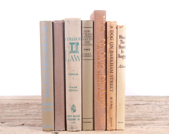 Brown & Tan Books / Old Books Vintage Books / Decorative Books / Antique Books Vintage Mixed Book Set / Books by Color Books for Decor