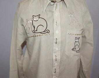 Vintage Shirt Blouse Mili Designs Cats
