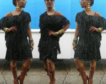 Vintage Black Fringe Hand Loomed Dress OSFA Knit Sweater