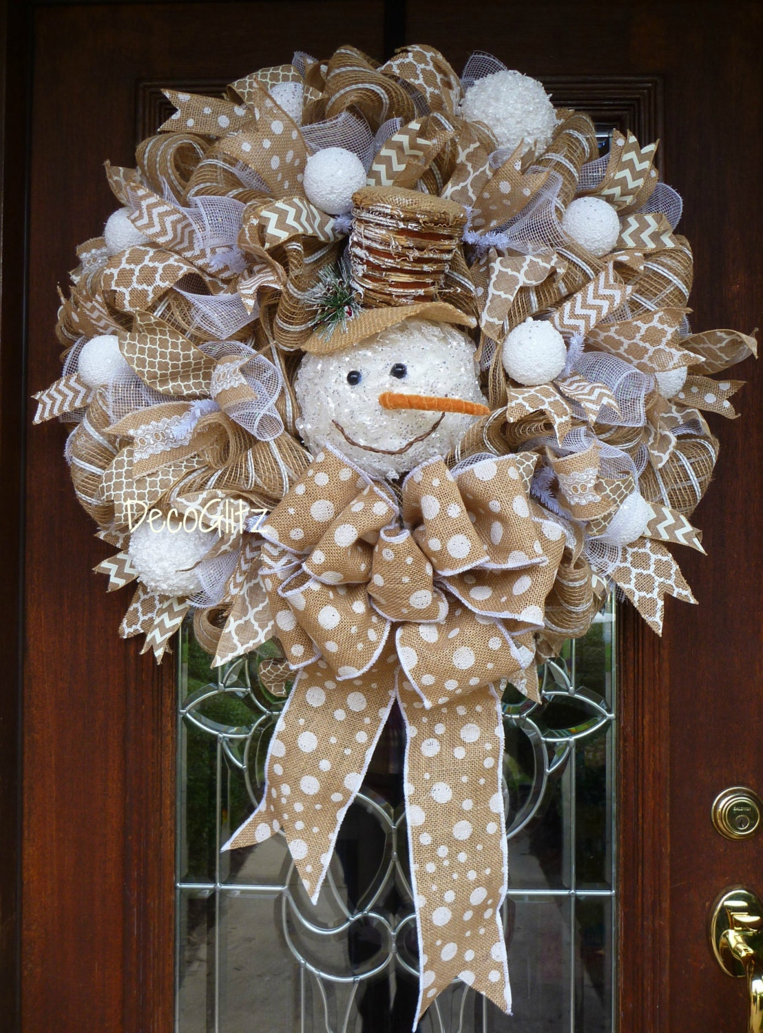 Snowman christmas wreath on burlap by decoglitz on etsy for Snowman made out of burlap