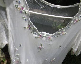 Gorgeous Pastel on White EMBROIDERED NET Twenties Style DRESS