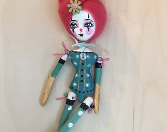 """9"""" paper clay circus doll ornament"""