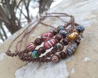 Hemp Macrame Bracelet, Ceramic Beaded Jewelry, Hippie Jewelry Accessories, Hemp Jewelry, Boho Style Bracelet