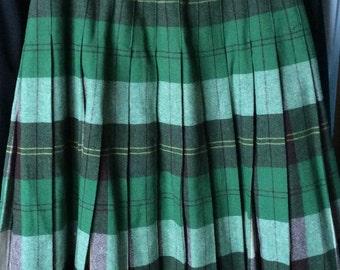 VINTAGE PLAID SKIRT, wool,  pleats, green, reversible, schoolgirl style, winter fashion