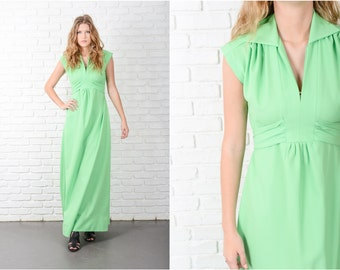 Vintage 70s Green Dress Mod A Line Maxi Boho Sleeveless Small S 8759 vintage dress 70s dress mod dress a line dress maxi dress small dress